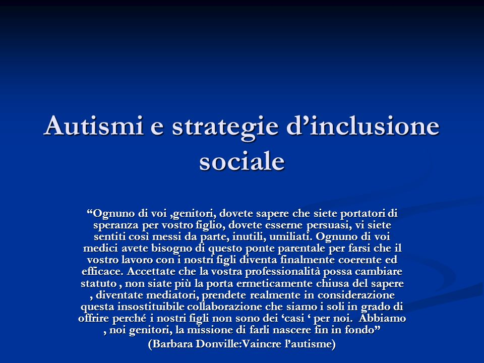 Autismi e strategie d'inclusione sociale