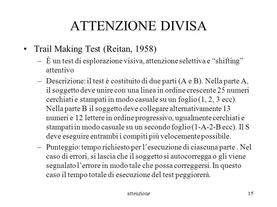 ATTENZIONE DIVISA Trail Making Test (Reitan, 1958)
