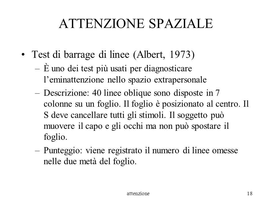 ATTENZIONE SPAZIALE Test di barrage di linee (Albert, 1973)