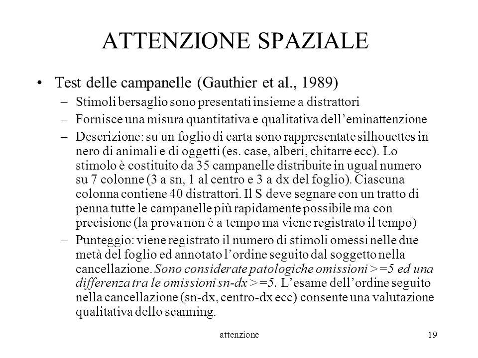 ATTENZIONE SPAZIALE Test delle campanelle (Gauthier et al., 1989)