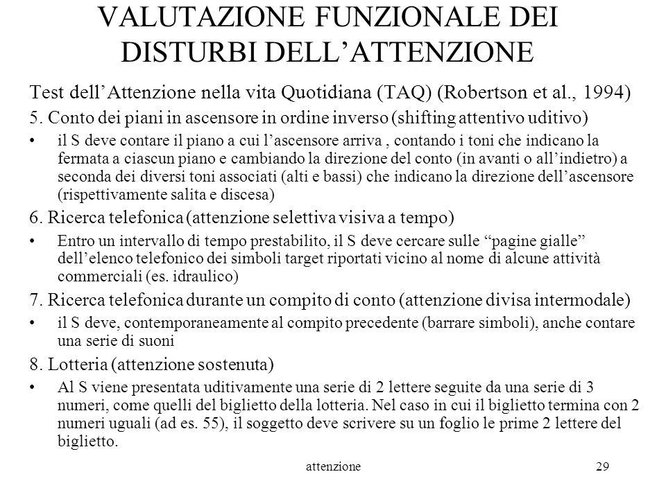 VALUTAZIONE FUNZIONALE DEI DISTURBI DELL'ATTENZIONE