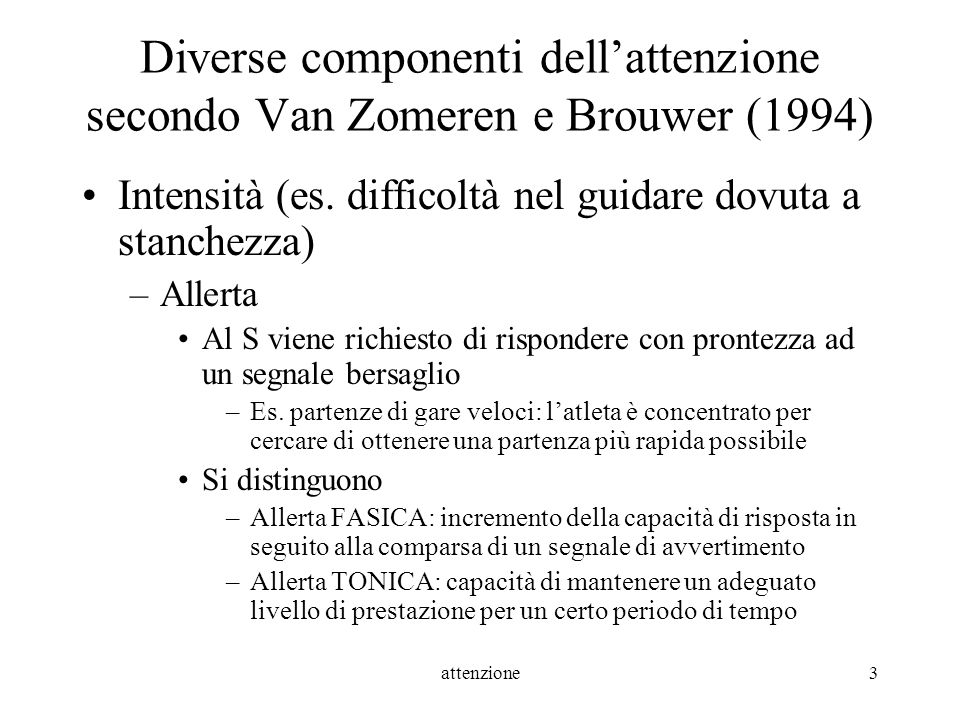 Diverse componenti dell'attenzione secondo Van Zomeren e Brouwer (1994)