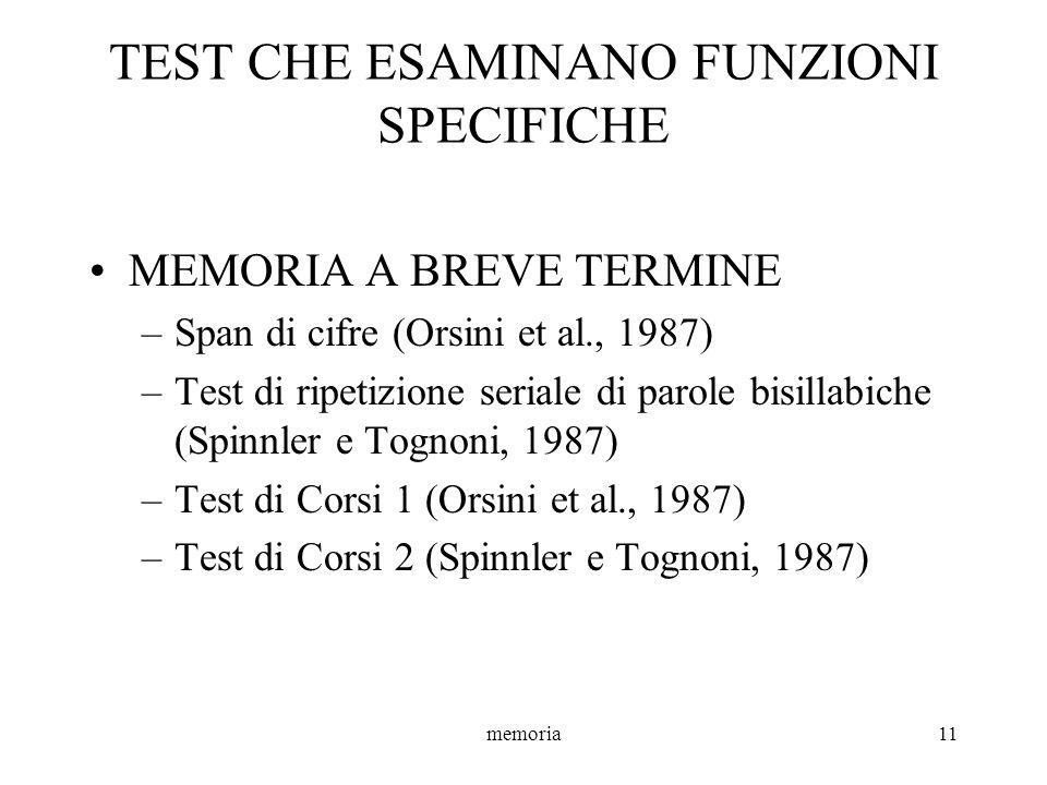 TEST CHE ESAMINANO FUNZIONI SPECIFICHE