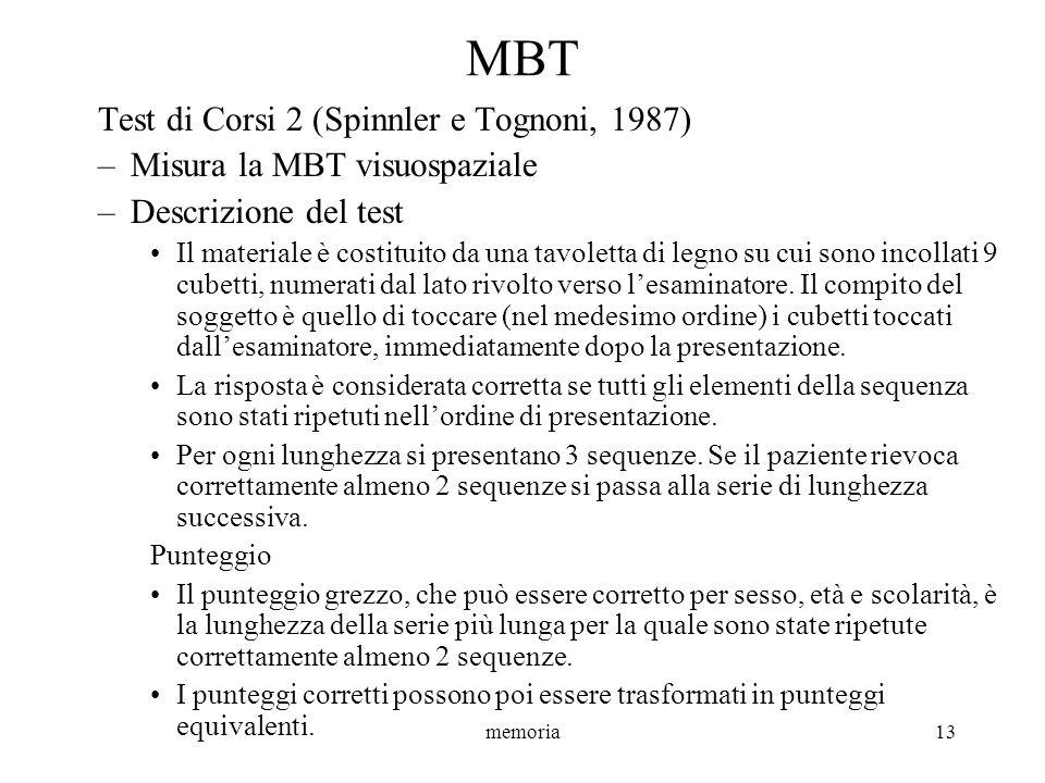 MBT Test di Corsi 2 (Spinnler e Tognoni, 1987)