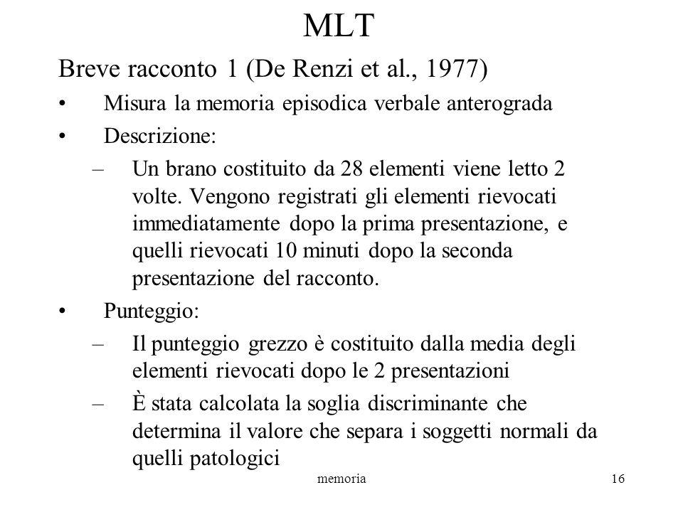 MLT Breve racconto 1 (De Renzi et al., 1977)