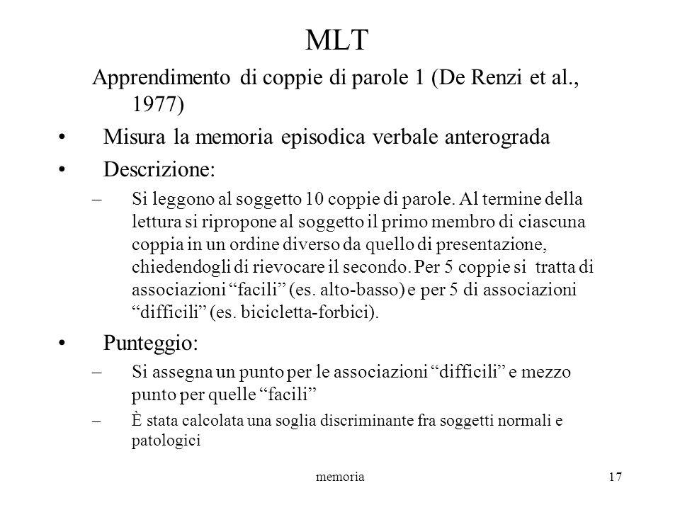 MLT Apprendimento di coppie di parole 1 (De Renzi et al., 1977)