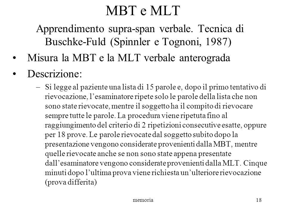 MBT e MLTApprendimento supra-span verbale. Tecnica di Buschke-Fuld (Spinnler e Tognoni, 1987) Misura la MBT e la MLT verbale anterograda.