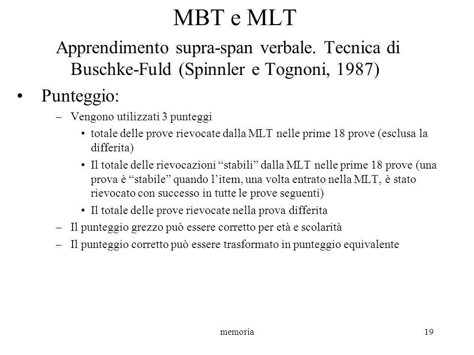 MBT e MLT Apprendimento supra-span verbale. Tecnica di Buschke-Fuld (Spinnler e Tognoni, 1987) Punteggio:
