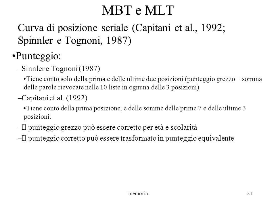 MBT e MLT Curva di posizione seriale (Capitani et al., 1992; Spinnler e Tognoni, 1987) Punteggio: Sinnler e Tognoni (1987)