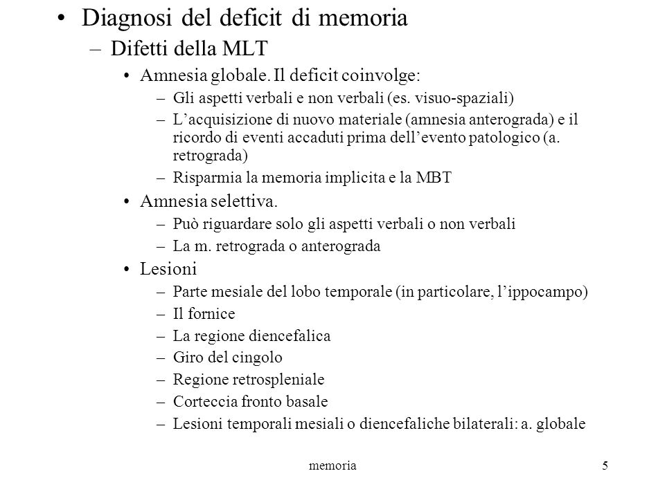 Diagnosi del deficit di memoria