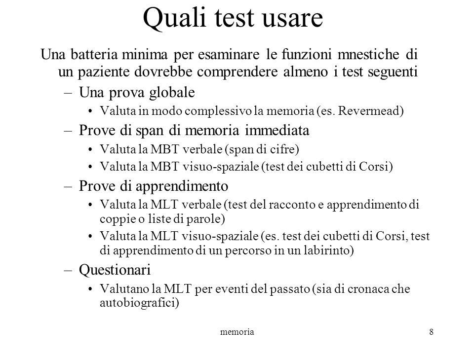 Quali test usare Una batteria minima per esaminare le funzioni mnestiche di un paziente dovrebbe comprendere almeno i test seguenti.