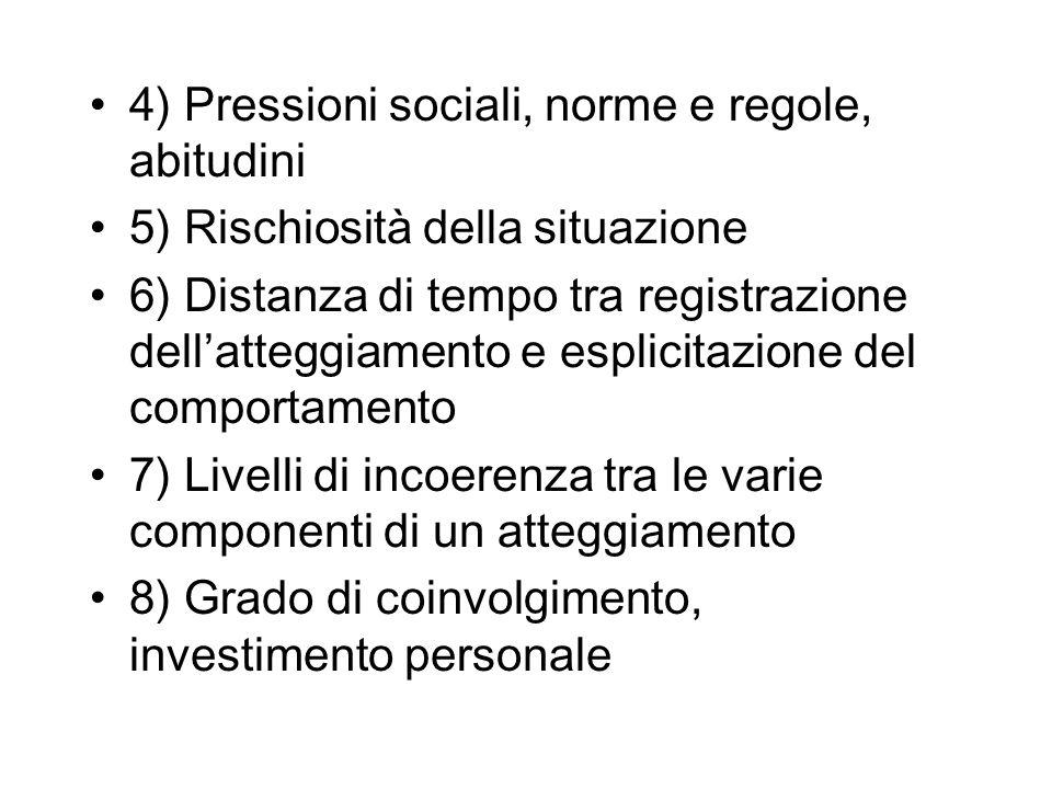 4) Pressioni sociali, norme e regole, abitudini