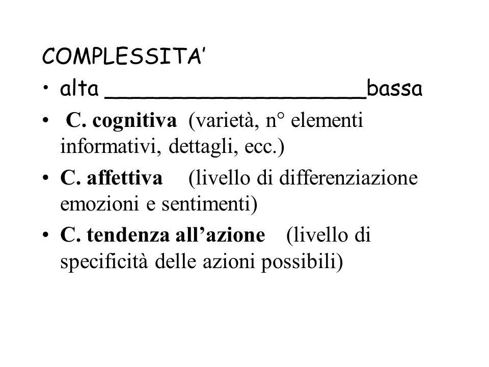 COMPLESSITA' alta ___________________bassa. C. cognitiva (varietà, n° elementi informativi, dettagli, ecc.)