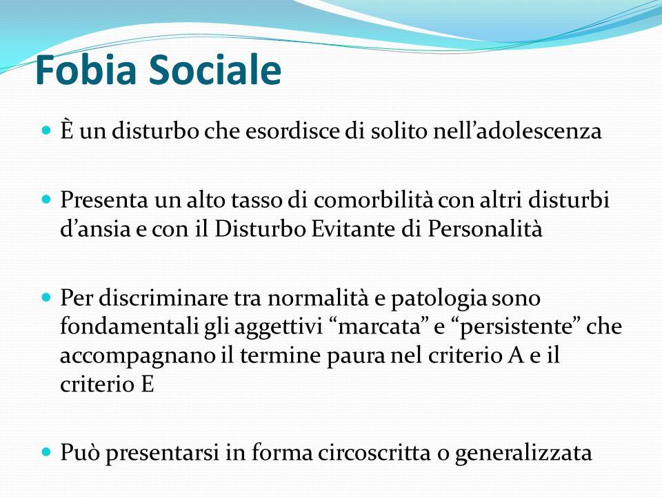 Fobia Sociale È un disturbo che esordisce di solito nell'adolescenza