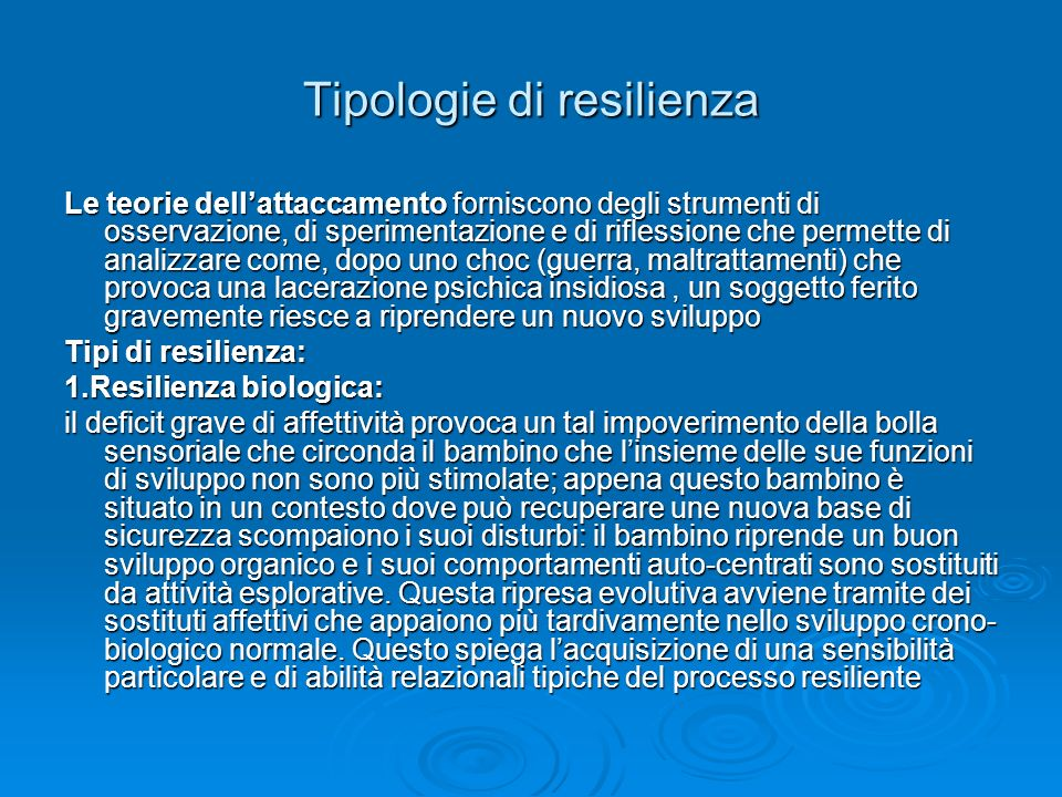 Tipologie di resilienza