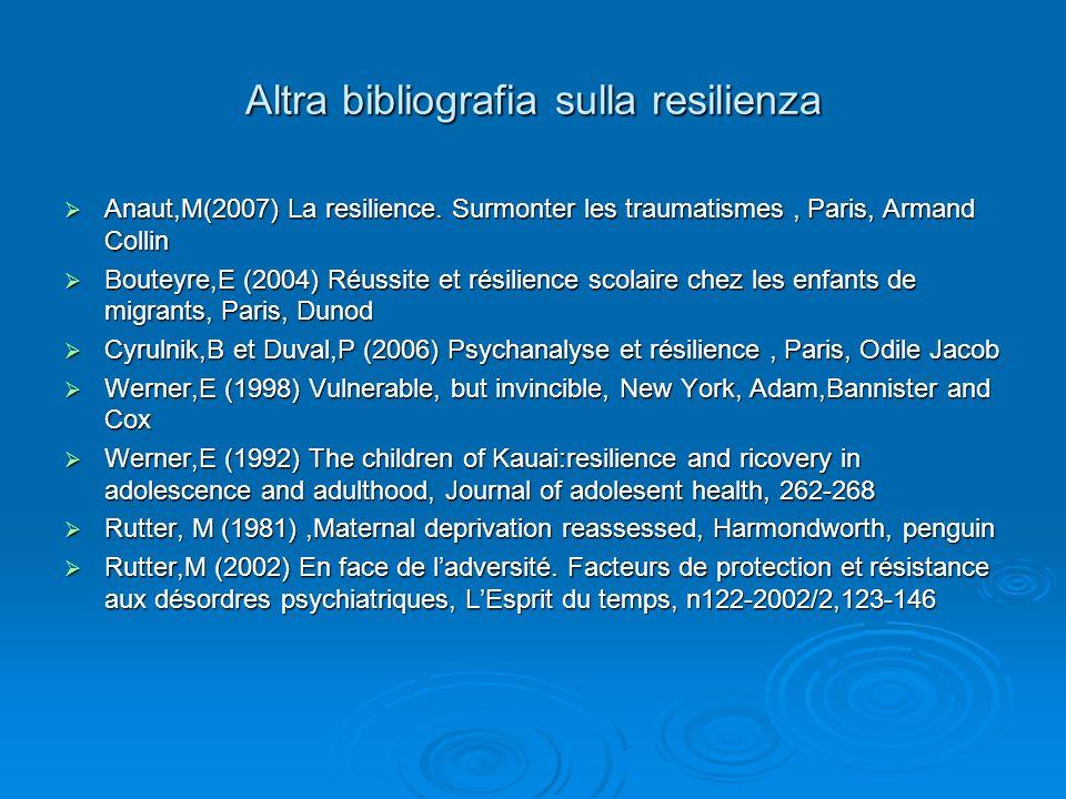 Altra bibliografia sulla resilienza