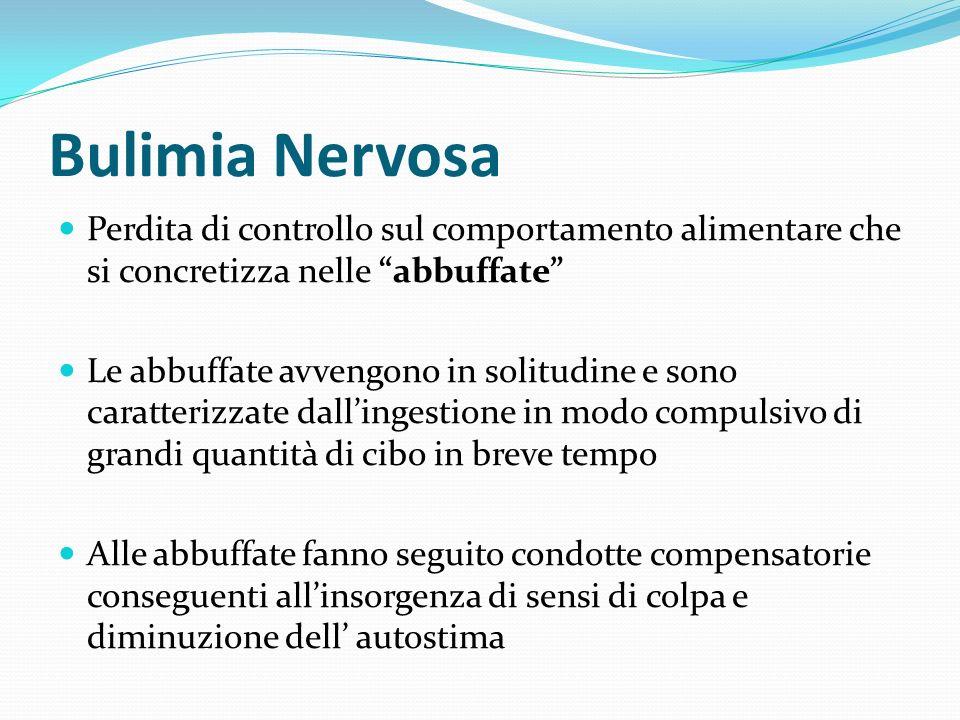 Bulimia NervosaPerdita di controllo sul comportamento alimentare che si concretizza nelle abbuffate