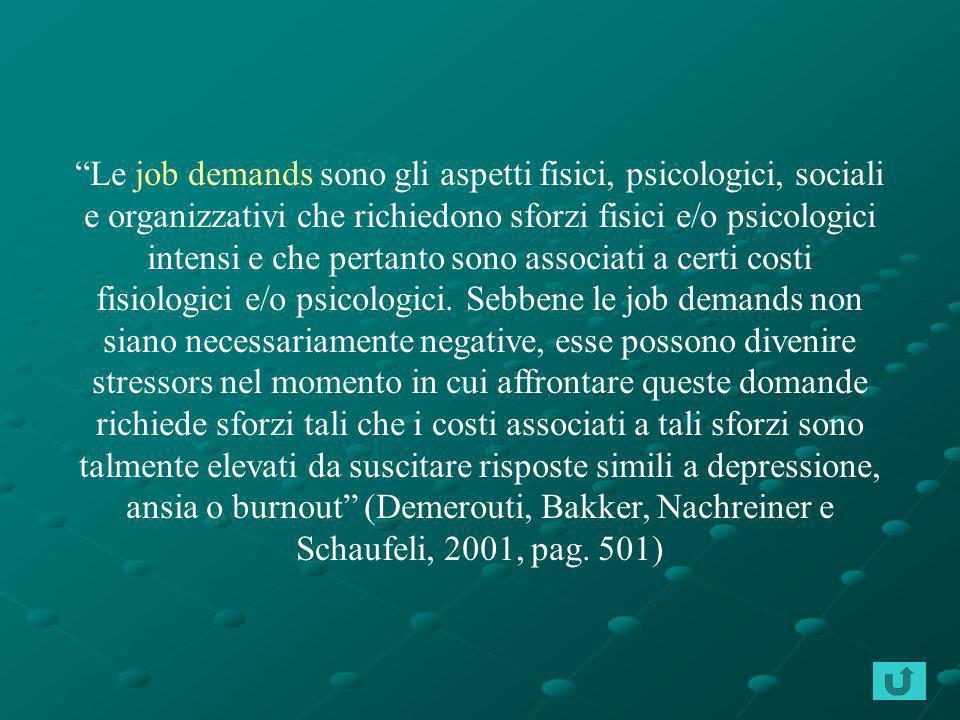 Le job demands sono gli aspetti fisici, psicologici, sociali e organizzativi che richiedono sforzi fisici e/o psicologici intensi e che pertanto sono associati a certi costi fisiologici e/o psicologici.