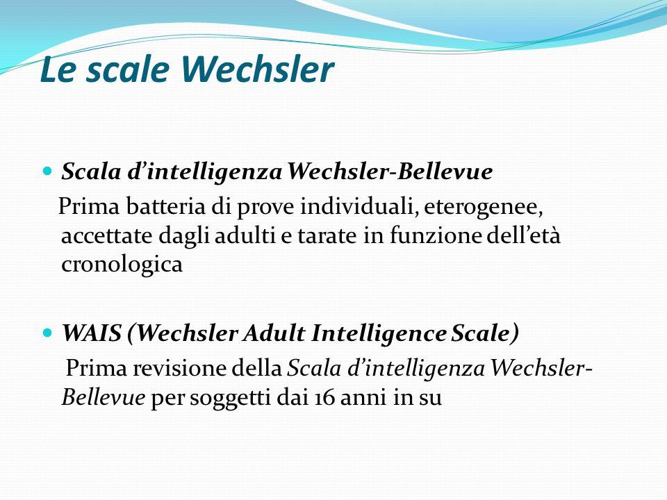 Le scale Wechsler Scala d'intelligenza Wechsler-Bellevue