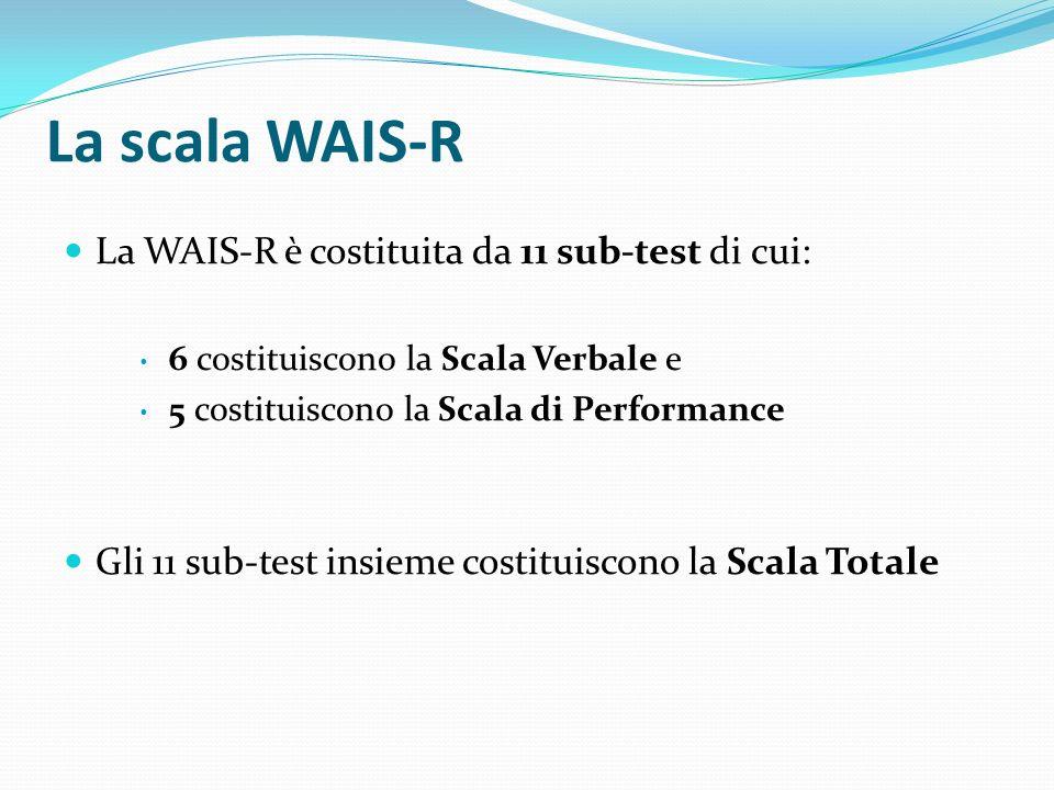 La scala WAIS-R La WAIS-R è costituita da 11 sub-test di cui: