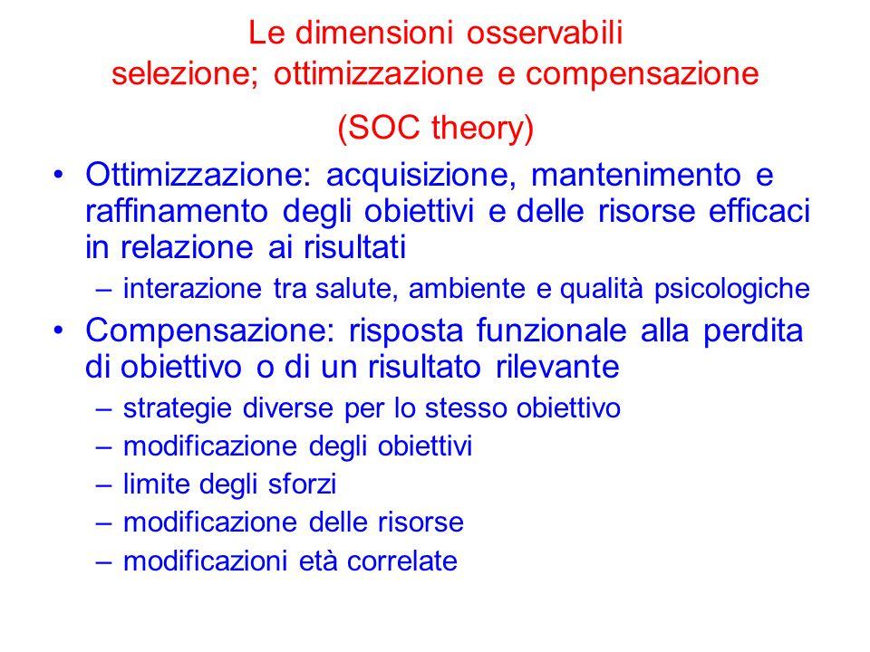 Le dimensioni osservabili selezione; ottimizzazione e compensazione (SOC theory)