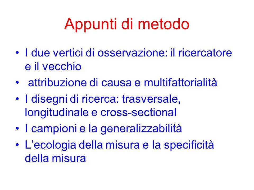 Appunti di metodo I due vertici di osservazione: il ricercatore e il vecchio. attribuzione di causa e multifattorialità.