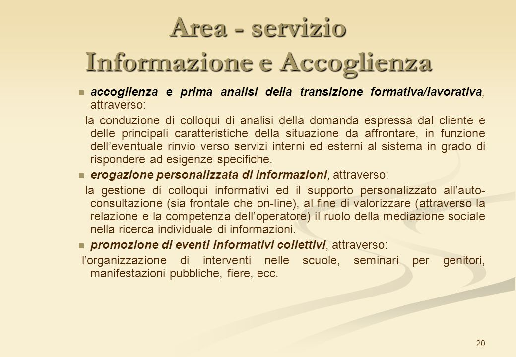 Area - servizio Informazione e Accoglienza