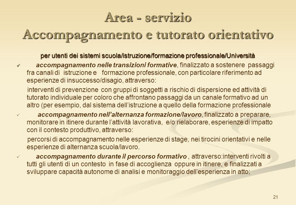 Area - servizio Accompagnamento e tutorato orientativo