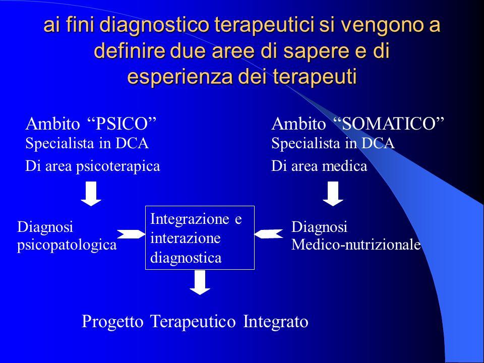 ai fini diagnostico terapeutici si vengono a definire due aree di sapere e di esperienza dei terapeuti