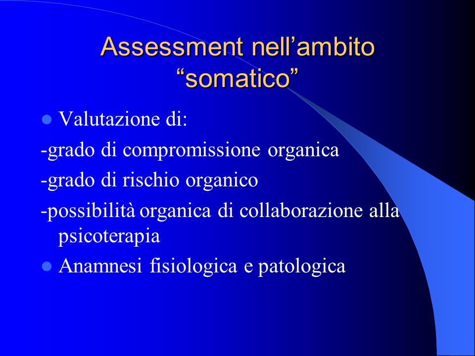 Assessment nell'ambito somatico