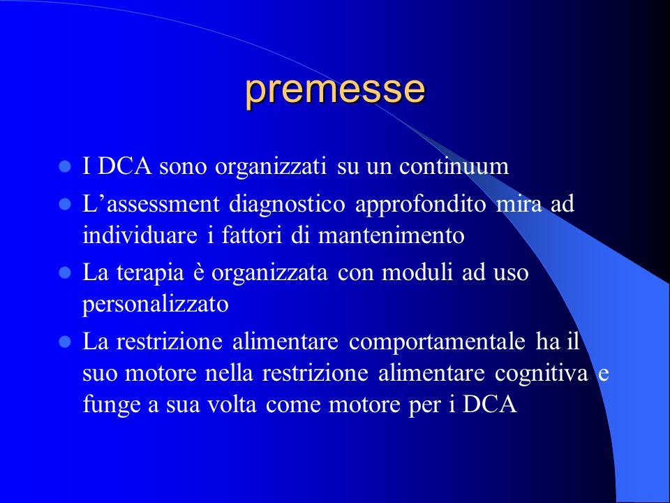 premesse I DCA sono organizzati su un continuum