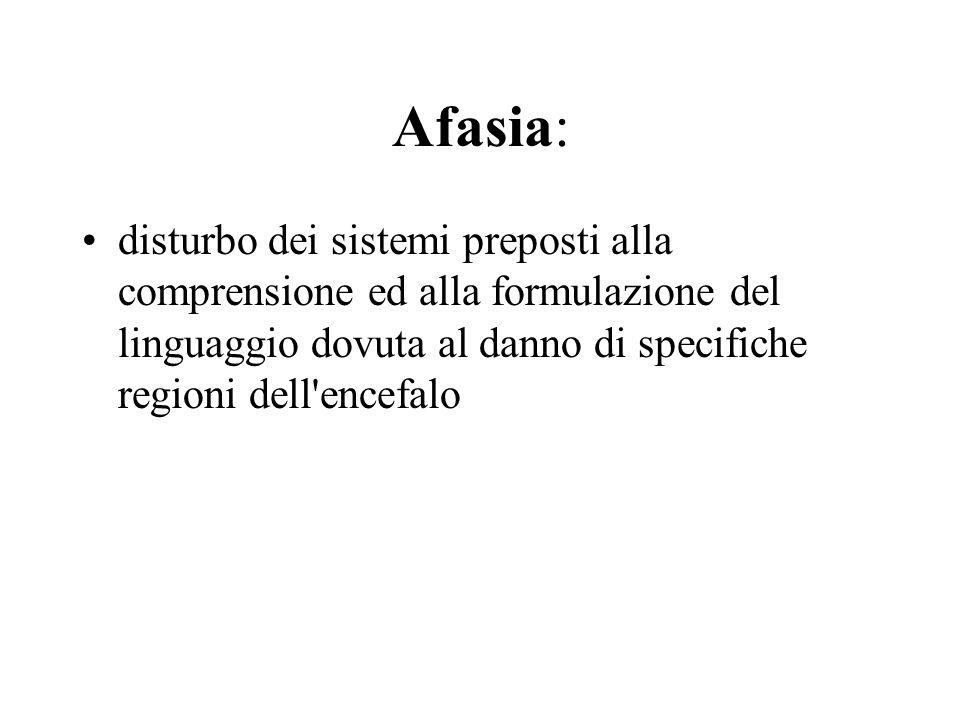 Afasia: disturbo dei sistemi preposti alla comprensione ed alla formulazione del linguaggio dovuta al danno di specifiche regioni dell encefalo.