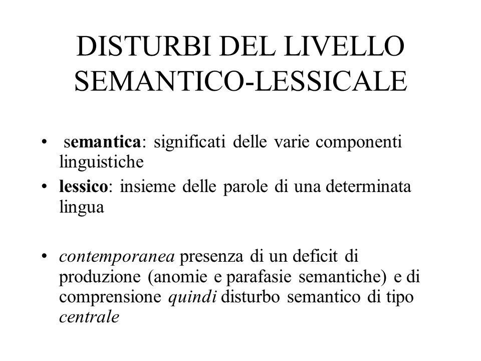 DISTURBI DEL LIVELLO SEMANTICO-LESSICALE