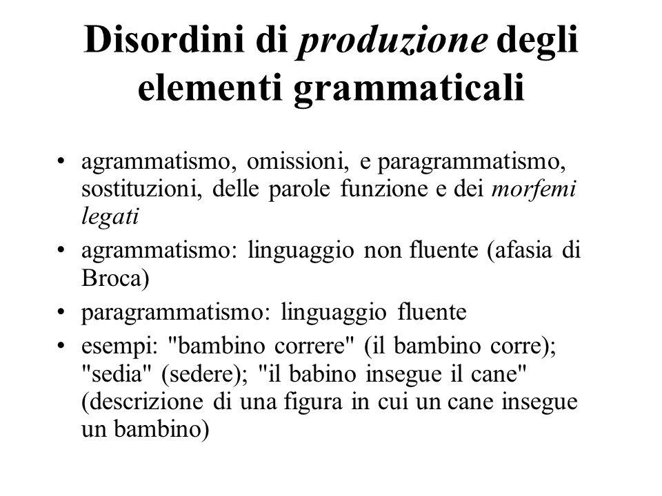 Disordini di produzione degli elementi grammaticali