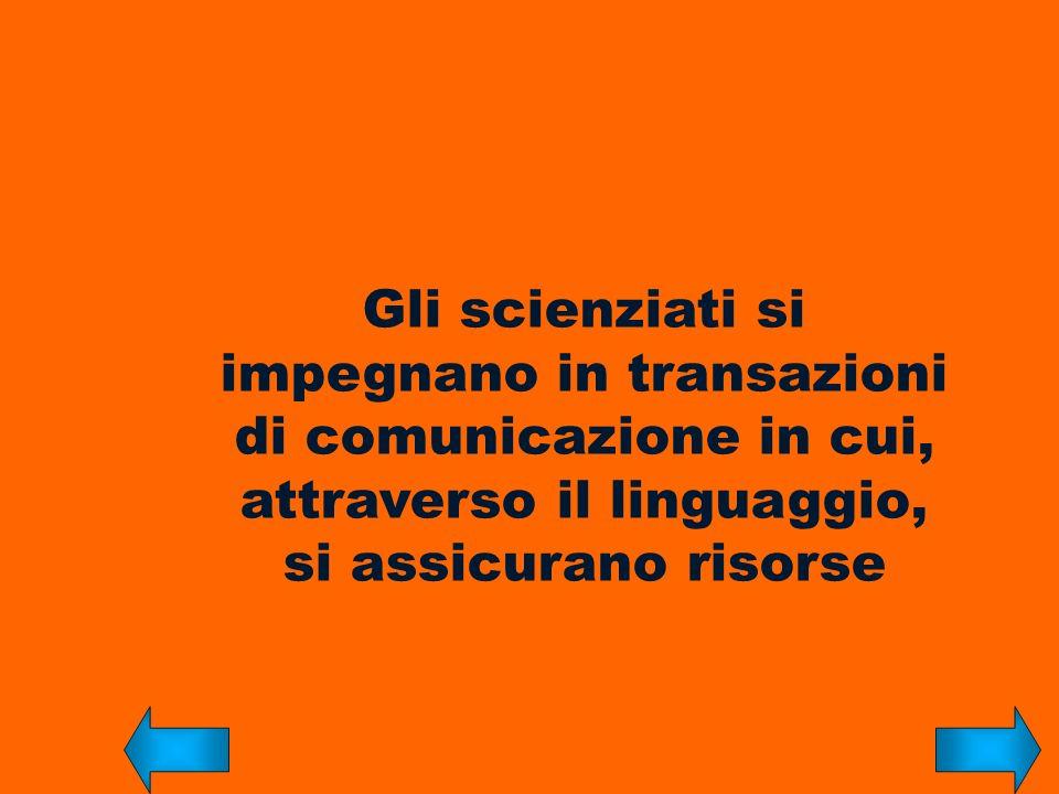 Gli scienziati si impegnano in transazioni di comunicazione in cui, attraverso il linguaggio, si assicurano risorse