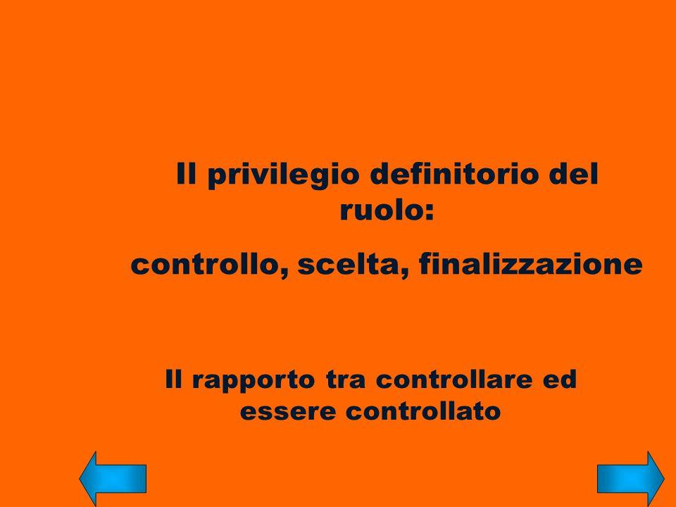 Il privilegio definitorio del ruolo: controllo, scelta, finalizzazione