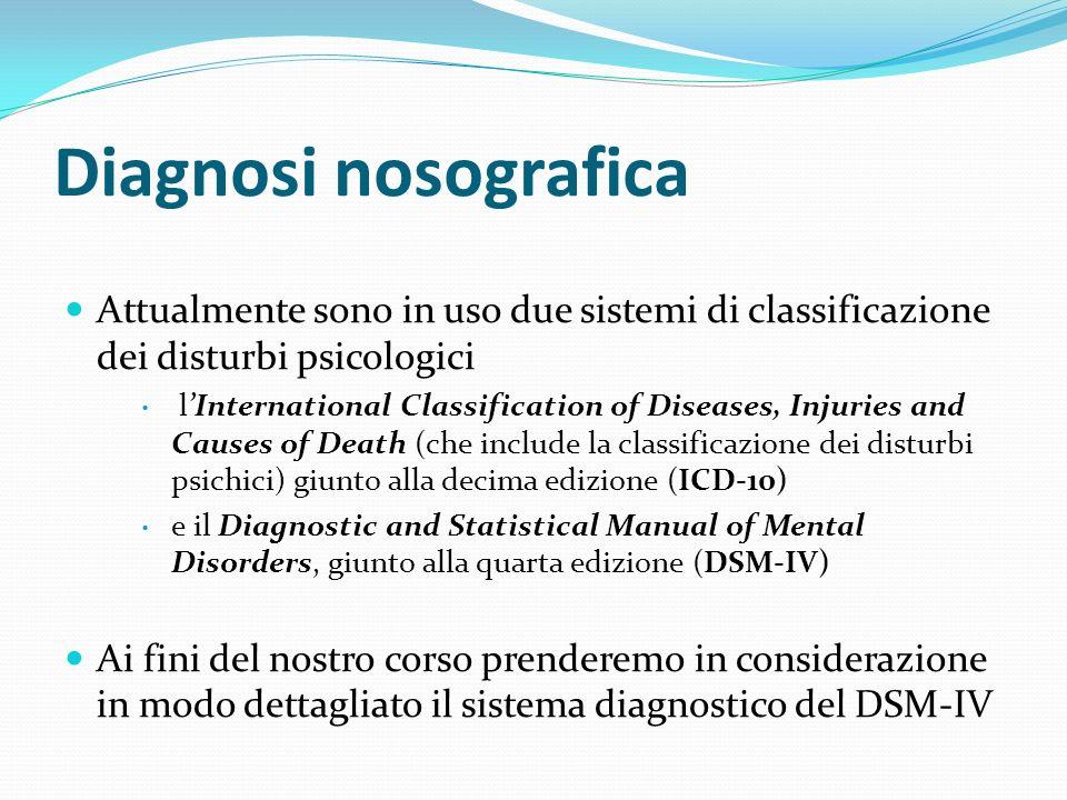 Diagnosi nosografica Attualmente sono in uso due sistemi di classificazione dei disturbi psicologici.