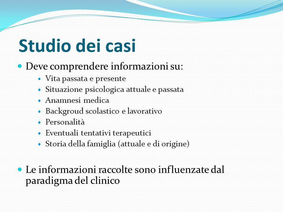 Studio dei casi Deve comprendere informazioni su: