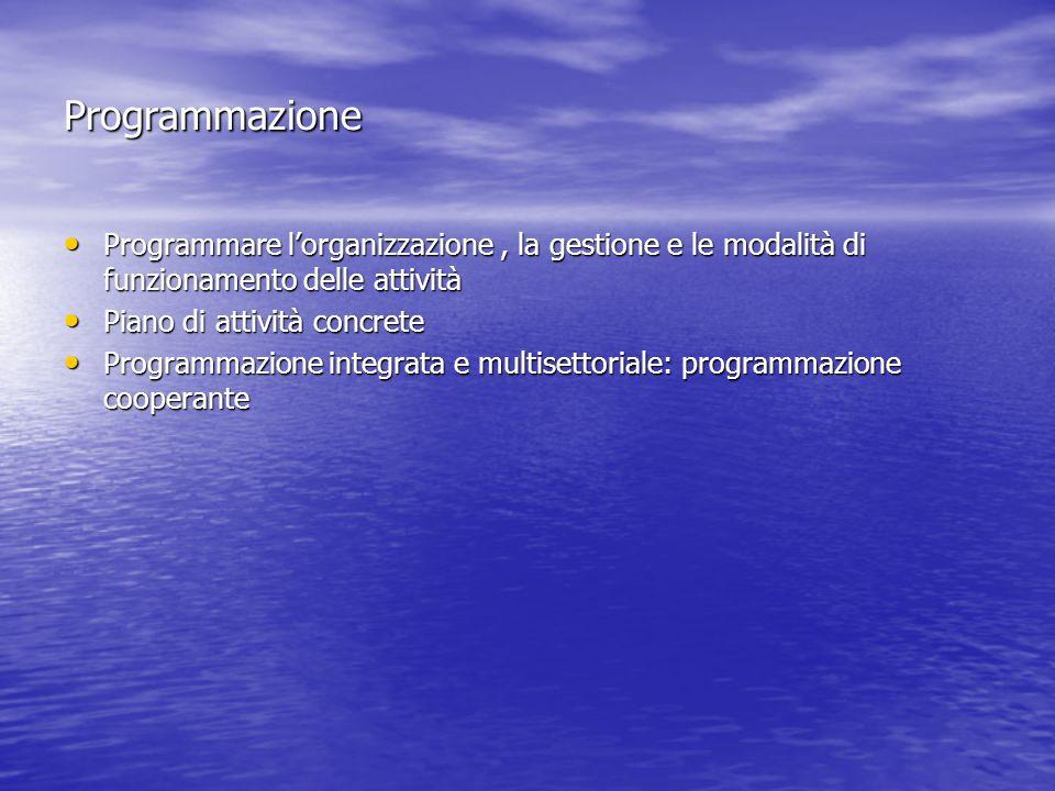 Programmazione Programmare l'organizzazione , la gestione e le modalità di funzionamento delle attività.