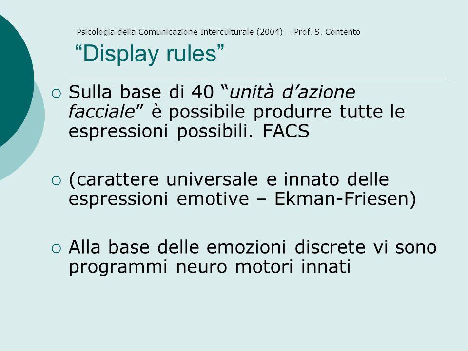 Display rules Psicologia della Comunicazione Interculturale (2004) – Prof. S. Contento.