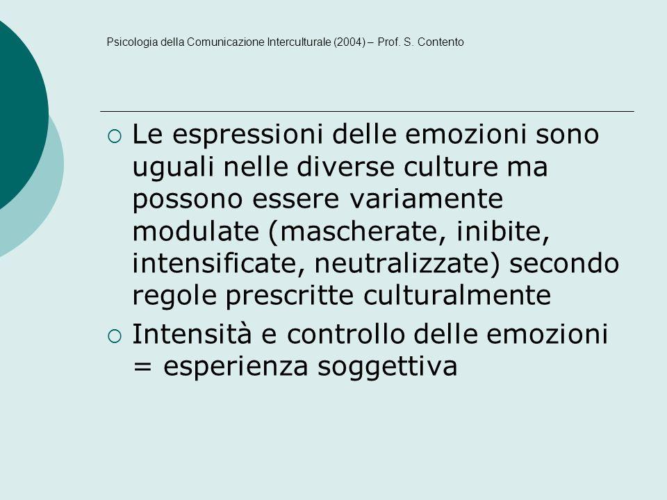 Intensità e controllo delle emozioni = esperienza soggettiva