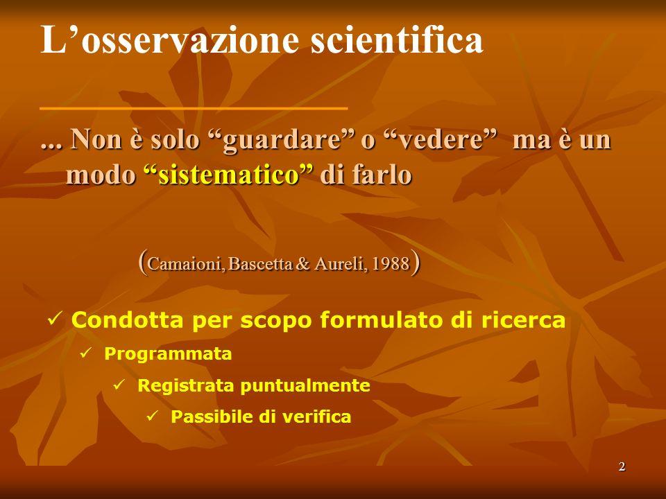 L'osservazione scientifica _______________