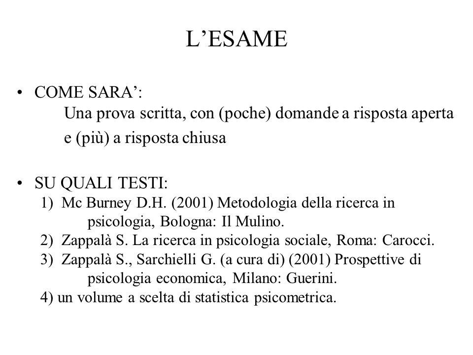 L'ESAMECOME SARA': Una prova scritta, con (poche) domande a risposta aperta. e (più) a risposta chiusa.