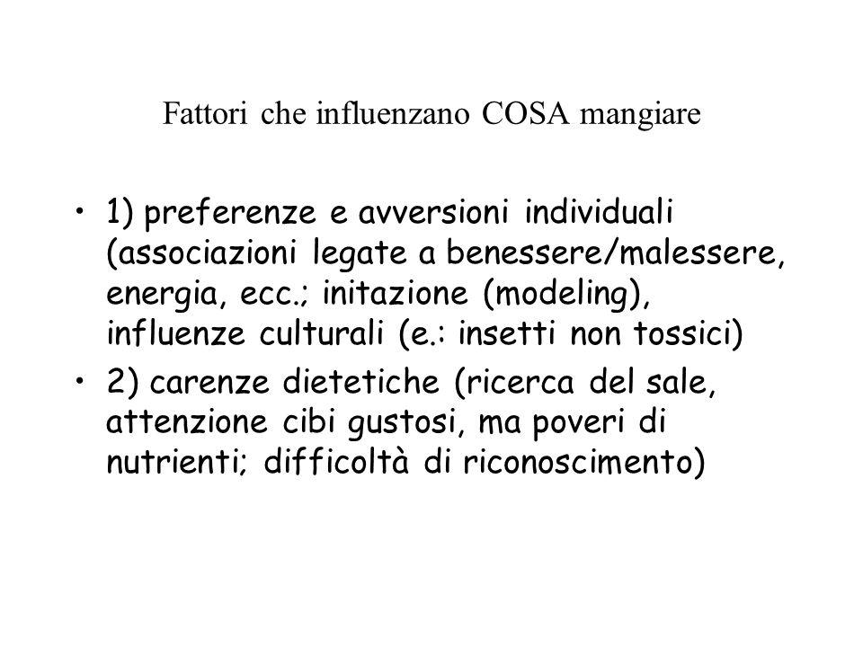 Fattori che influenzano COSA mangiare