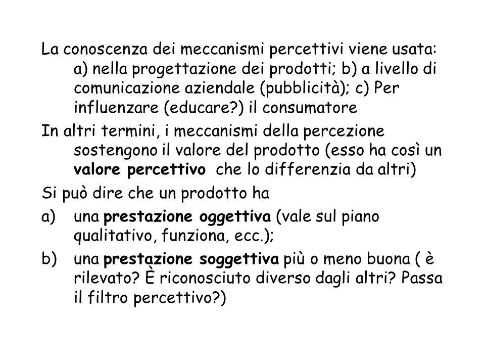 La conoscenza dei meccanismi percettivi viene usata: a) nella progettazione dei prodotti; b) a livello di comunicazione aziendale (pubblicità); c) Per influenzare (educare ) il consumatore