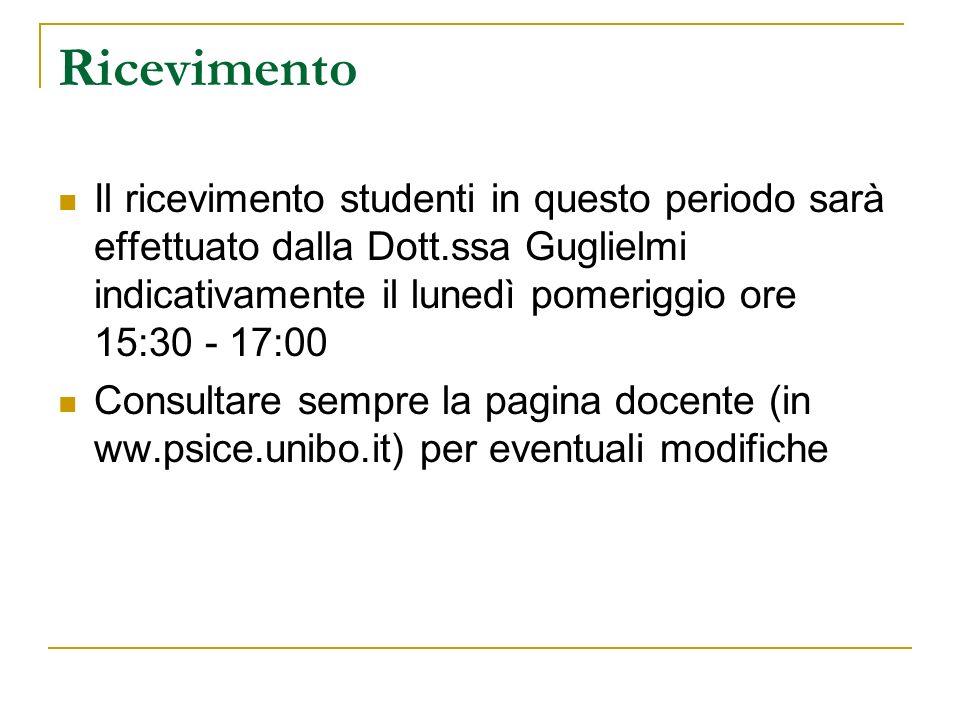 RicevimentoIl ricevimento studenti in questo periodo sarà effettuato dalla Dott.ssa Guglielmi indicativamente il lunedì pomeriggio ore 15:30 - 17:00.