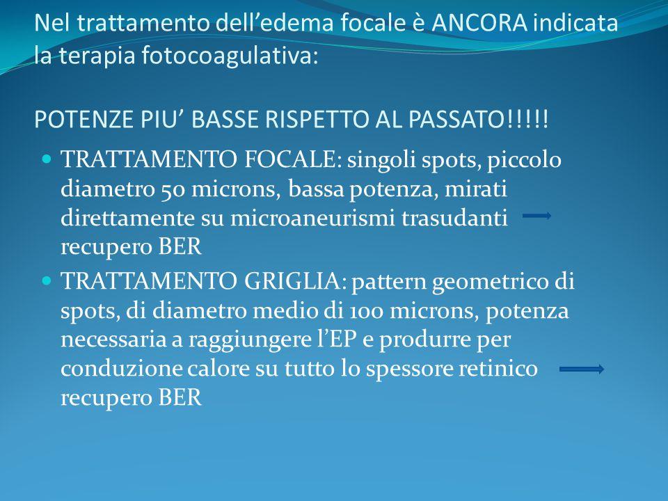 Nel trattamento dell'edema focale è ANCORA indicata la terapia fotocoagulativa: POTENZE PIU' BASSE RISPETTO AL PASSATO!!!!!