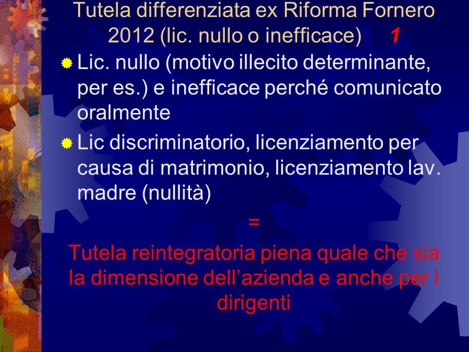 Tutela differenziata ex Riforma Fornero 2012 (lic