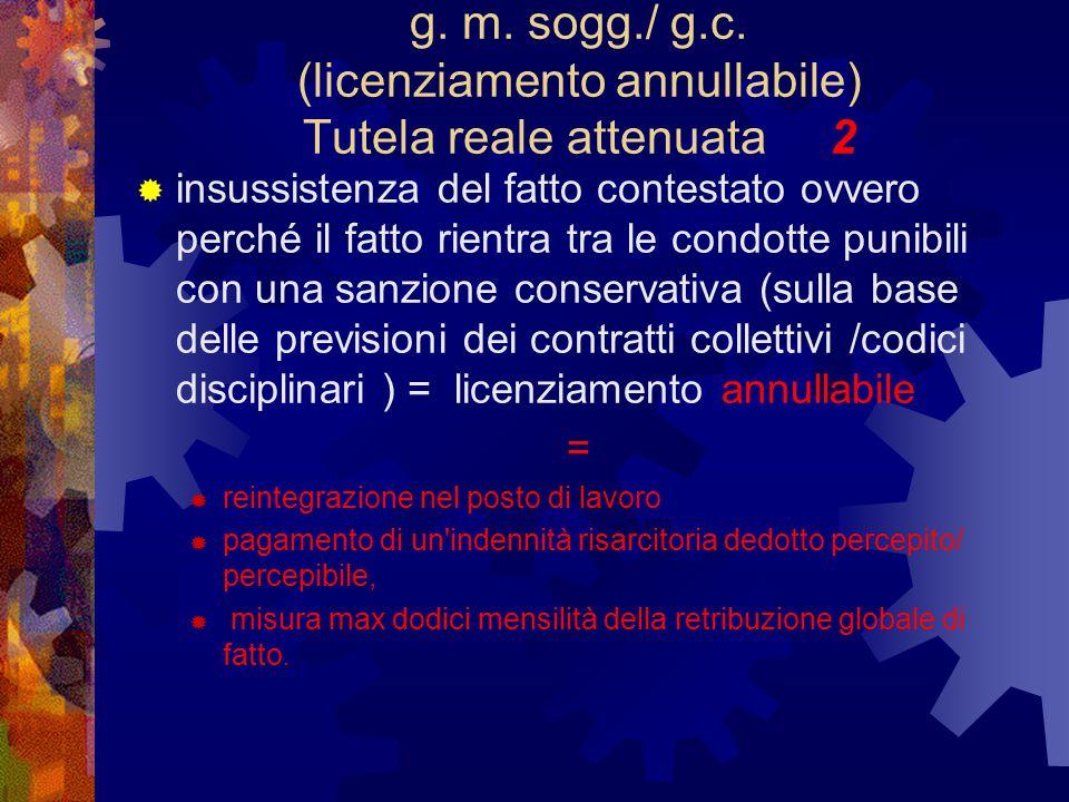 g. m. sogg./ g.c. (licenziamento annullabile) Tutela reale attenuata 2