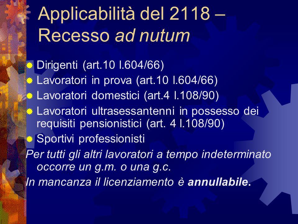 Applicabilità del 2118 – Recesso ad nutum
